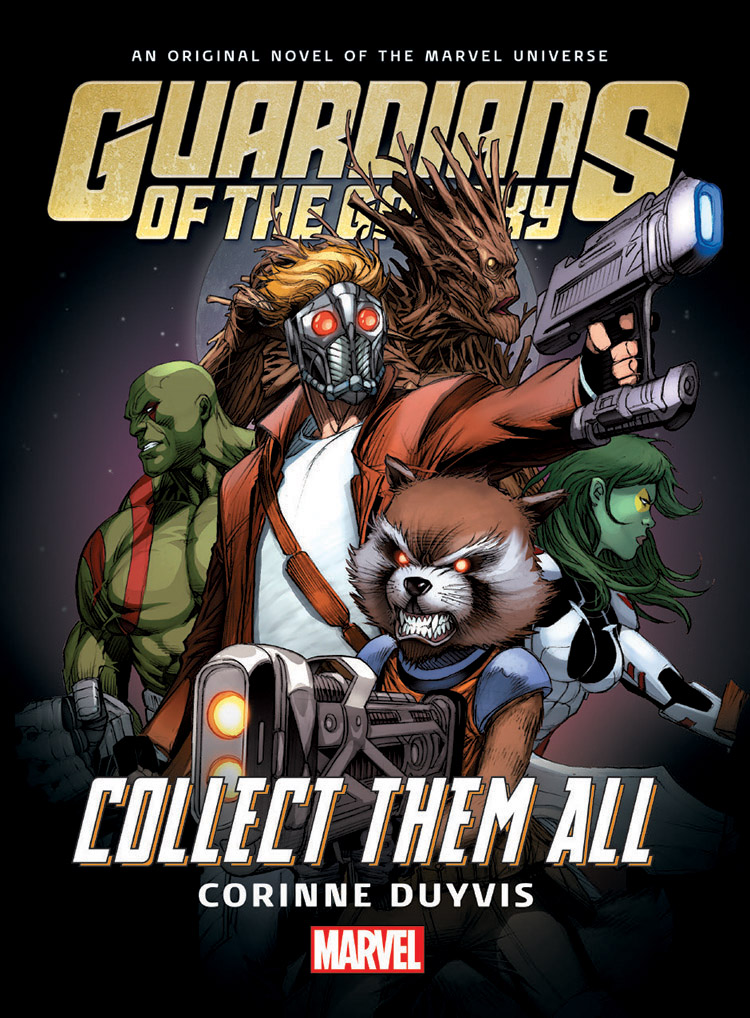 <p>Book cover for Guardians of the Galaxy: Collect Them All: the Guardians - consisting of Star-Lord, Gamora, Groot, Rocket Raccoon, and Drax - strike an action pose in front of a full moon.</p>