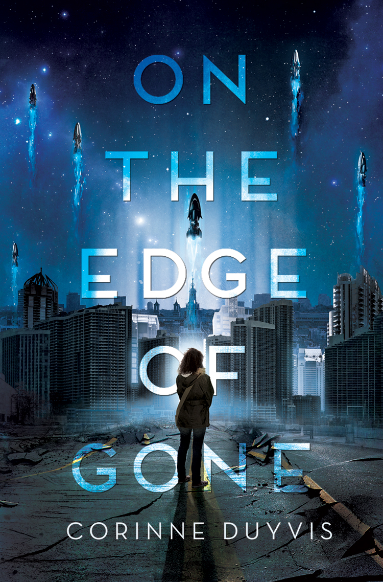 <p>Book cover for On the Edge of Gone; a girl wearing a backpack stands on a cracked road. She's seen from behind as she overlooks a destroyed city. Above, several spaceships flee the planet against a starry blue backdrop.</p>