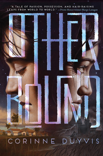 Book cover: OTHERBOUND by Corinne Duyvis: close-up of a boy's and a girl's face looking into opposite directions; the boy has his eyes closed. Below the boy's face is a desert town landscape, and below the girl's face is a castle situated by a ocean, with a storm raging in the background.