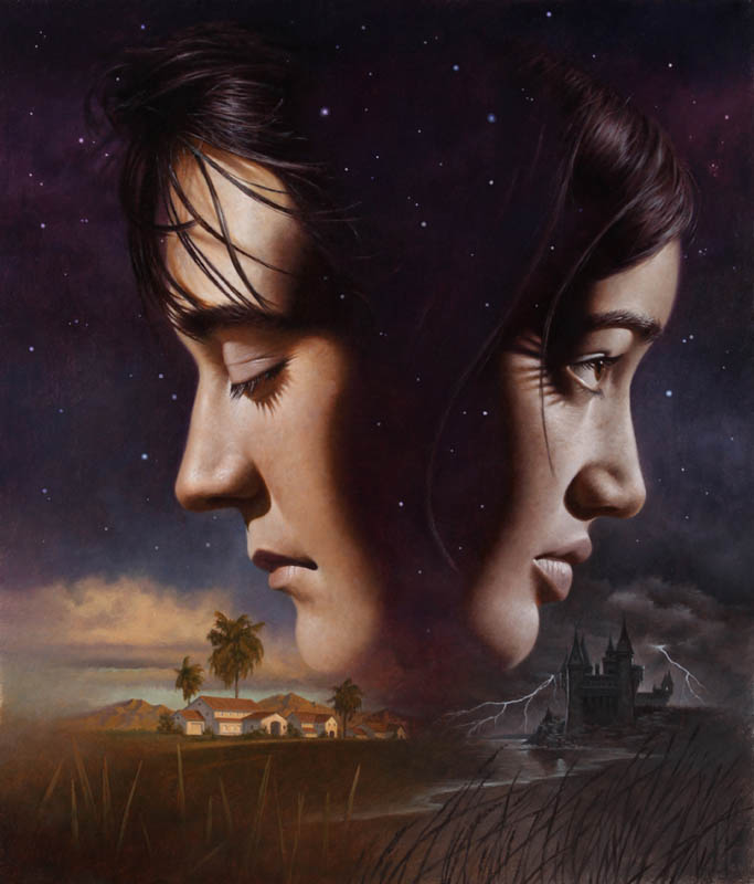 Profile shot of two teenagers looking away from each other; on the left, a boy with his eyes closed, and on the right, a girl with her eyes open. Below the boy is a suburban desert landscape; below the girl is a rocky, stormy landscape with a castle.