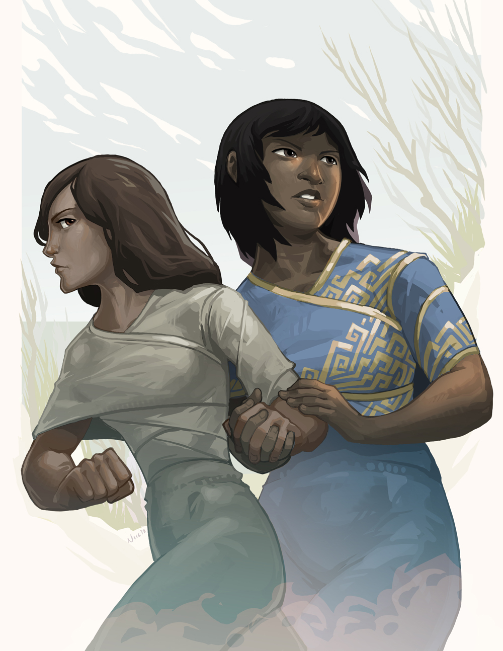 A digital drawing of two teenage girls – one girl determined, thin, with medium-dark skin and long hair, the other girl alert, full-figured, with dark skin and chin-length hair. The second girl is clutching the first girl's arm.